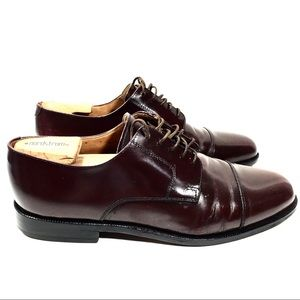 COLE HAAN Burgundy Leather Cap-toe Oxford Shoes